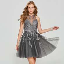 Tanpell short homecoming dress gray lace appliques sleeveless above knee a line gown lady prom party customed homecoming dresses exquisite jewel sheath lace sleeveless short homecoming dress