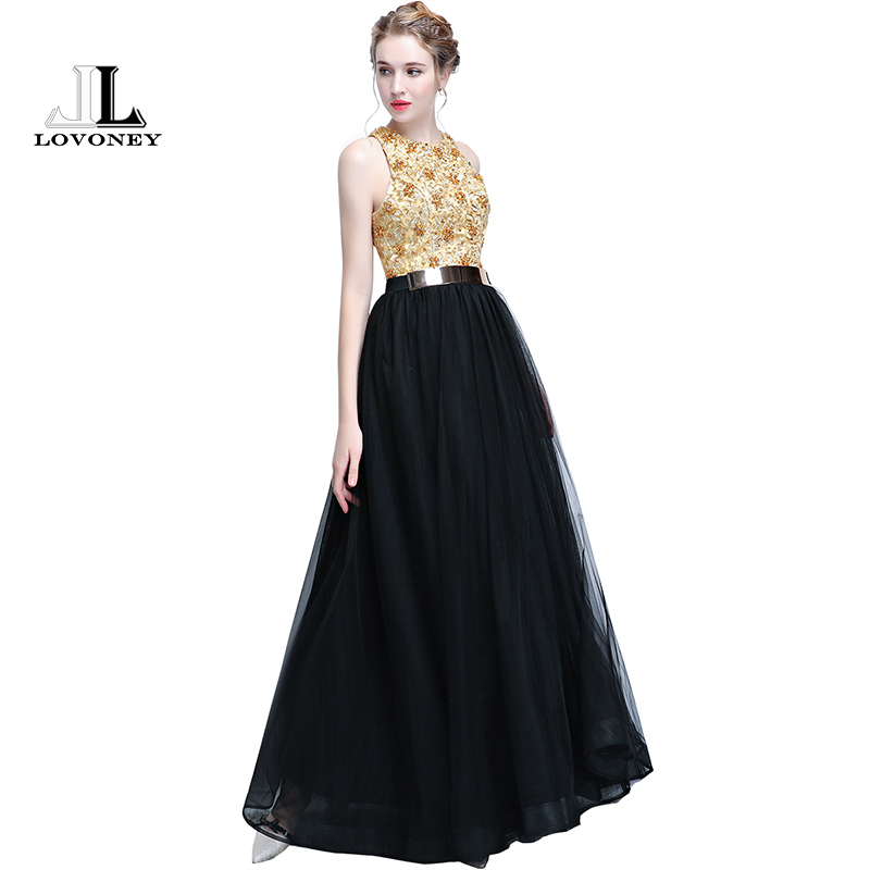 LOVONEY A Line Beading Evening Dresses Long Elegant Formal Dress Party Evening Gown with Belt Vestido De Festa Prom Gown YS413