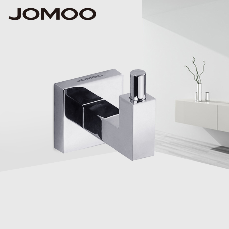 JOMOO Robe Hook Wall Hooks Nail Coat Hook Brass Chrome Kitchen Key Holder Wall Mounted Clothes Hat Hooks Bathroom Accessories