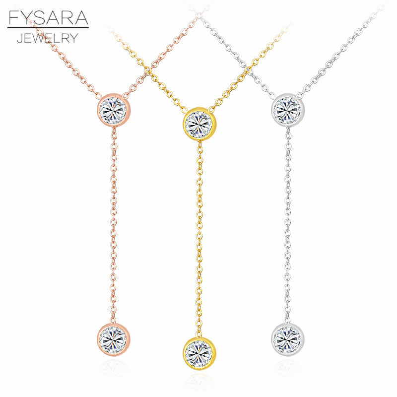 FYSARA Charm Circles Round Crystal Tiny Necklace For Women Long Chain Pendant Zirconia Collar Wedding Love Tassel Necklace