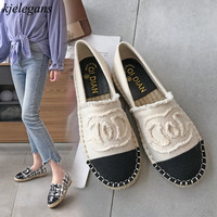 Kjelegans 2019 grid women flats spring autumn simple casual handmade round toe simple slip on hemp lady loafers zapatos mujer