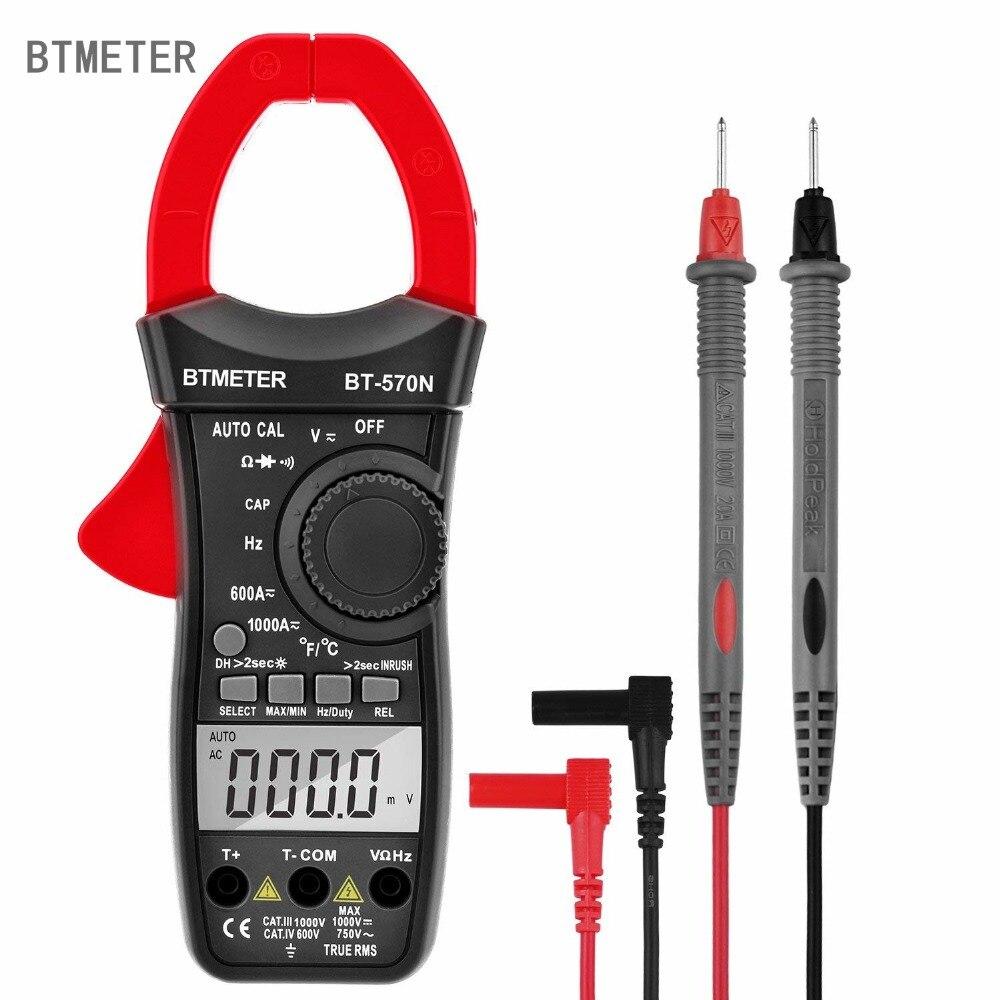 Clamp Multimeter BT-570N Auto Range AC/DC Clamp meter 6000 Counts, True RMS, Resistance, Cap, Hz, Duty Cycle, Temperature
