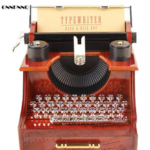 ONNPNNQ 1x Retro Typewriter Clockwork Music Box Furniture Decoration Creative Gifts