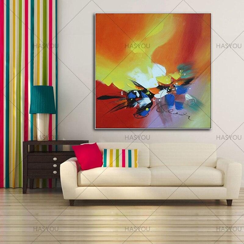 Beste Neue 100% Handgemachte Ölgemälde Auf Leinwand Bunte Landschaft  Ölgemälde Moderne Leinwand Wandkunst Wohnzimmer Decor Bild In Beste Neue  100% ...