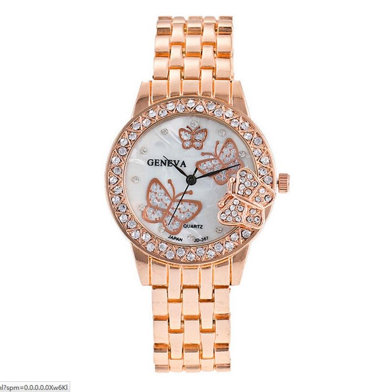 Ladies Watch Watches Women Crystal Butterfly Quartz Reloj Mujer Watch Geneva Crystals Clock Women Watches Relogio Feminino Clock