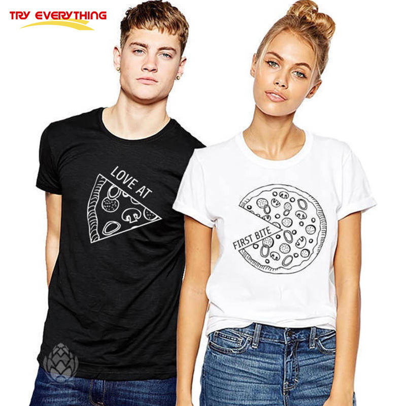 Prueba todo Pizza pareja camisetas para amantes 2018 Casual juego pareja ropa verano hombres y mujeres Valentine's Tops camisetas