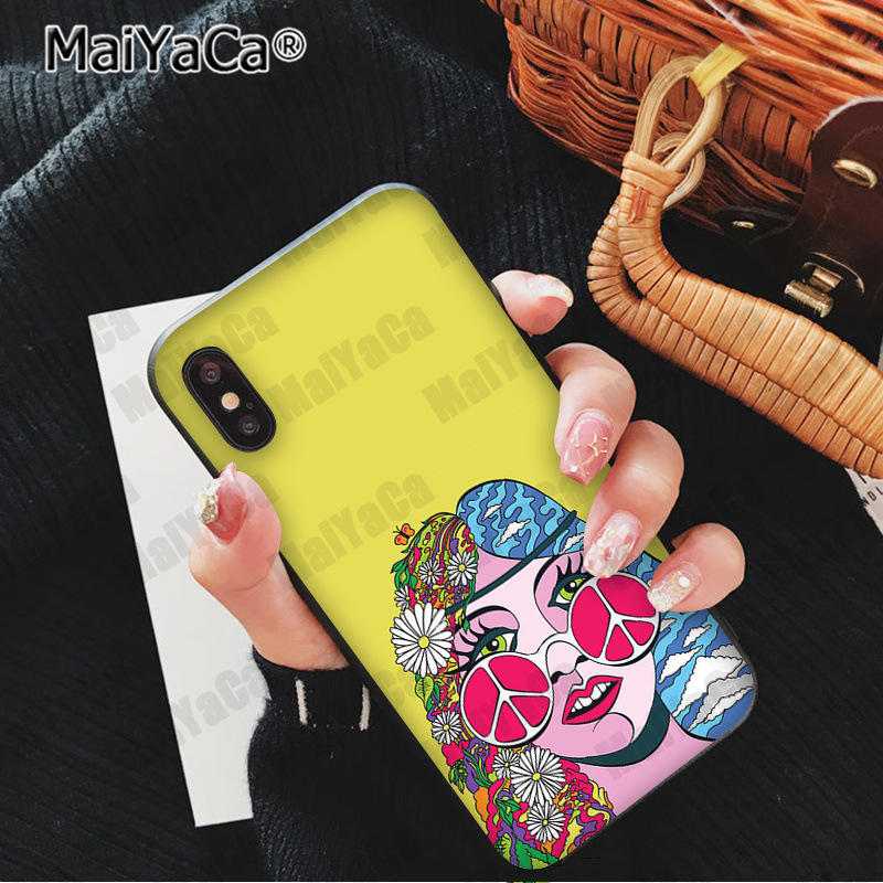 , MaiYaCa Hippy Hippie Psychedelic Art Peace Colorful Cute Phone Accessories Case for iPhone 5 5Sx 6 7 7plus 8 8Plus X XS MAX XR