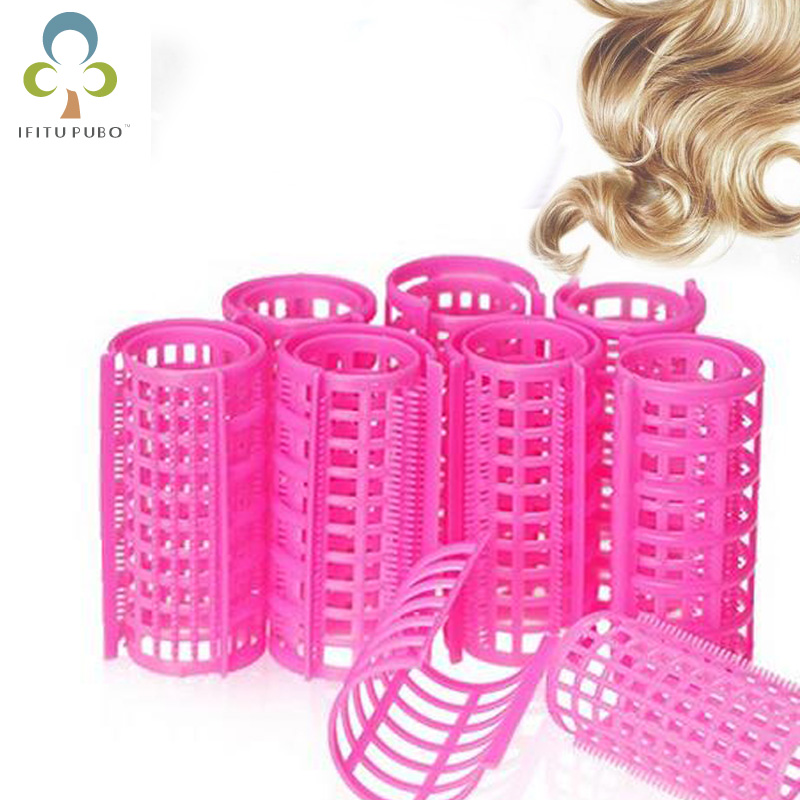 Curling Irons Provided Top Sale 12 Pcs Pink Plastic Diy Hair Styling Curlers Clips Lady Hair Care Tools Portable Curling Iron