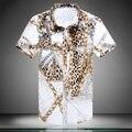 La alta calidad de hombre camisa Casual 2016 nueva camisa adelgazan la manga corta más tamaño XXXXL 5XL hombre leopardo grillete patrón Shirts #308