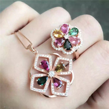 Natural tourmaline necklace pendant ring set inlaid jewelry wholesale silver silver S925 natural multicolor tourmaline pendant s925 silver natural gemstone pendant necklace trendy round fireball women party jewelry