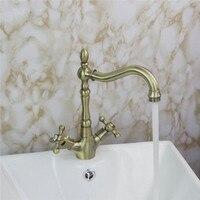 Xueqin Antique Copper Double Handle Faucet Kitchen Bathroom Sink Swivel Spout Mixer Tap New Double Lever