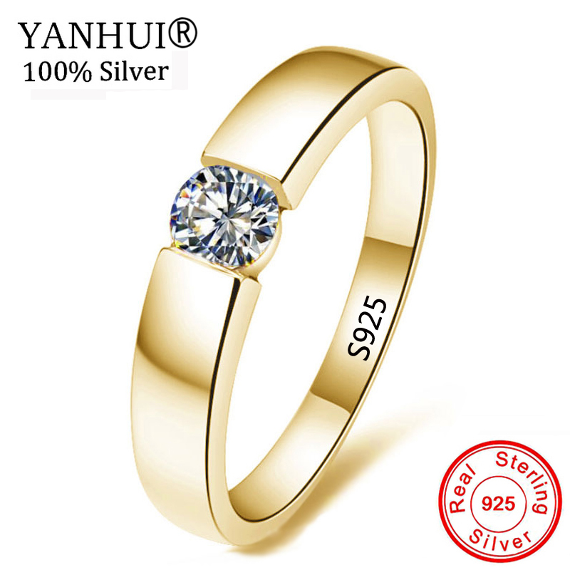 YANHUI 100% Pure 925 Silver Gold Rings Solitaire CZ Engagement Wedding Rings For Women and Men Size 5 6 7 8 9 10 11 12 13 MKR10 image