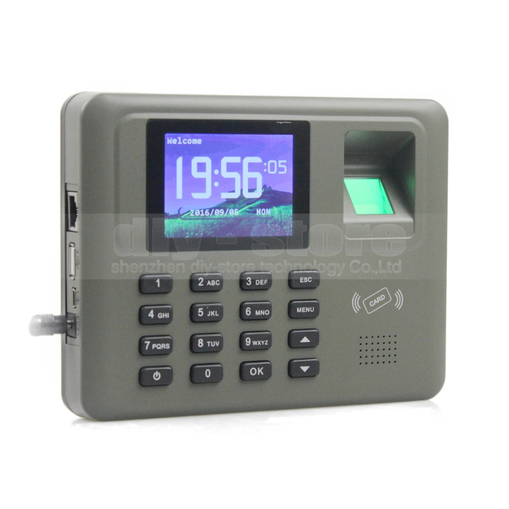 DIYSECUR 2.8inch Color Biometric Fingerprint Time Clock Attendance Digital Electronic Reader Machine Clock Employee Payroll