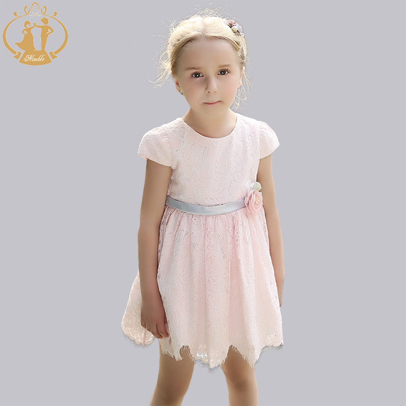Nimble Lace girls dress With Sashes Ligth Blue Flower Cute Dress Girls Birthday Party Knee-Length Ball Gown игрушка альтернатива слонёнок м4937 ligth blue