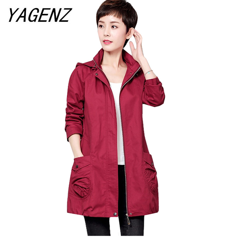 Middle-aged Spring Autumn Women's Clothing Fashion Loose Casual Hooded   Trench   Coat Solid Women's Cotton Windbreaker Detachable