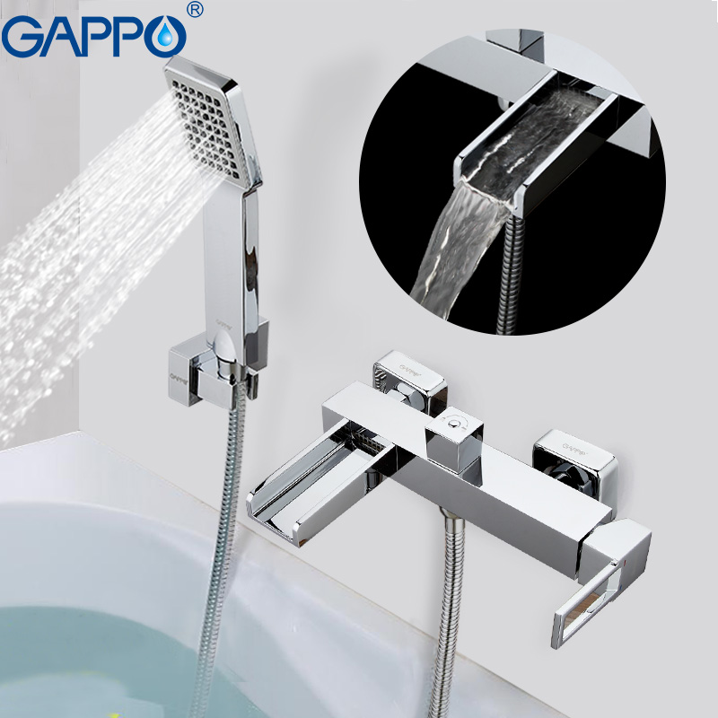 GAPPO Bathtub faucet bath tub mixer shower tap brass shower head Bath tub taps wall mounted rainfall shower set chrome polished rainfall solid brass shower bath thermostatic shower faucet set mixer tap with double hand sprayer wall mounted