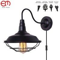 Com malha abajur vintage antigo vintage lâmpadas de parede led personalizado umberlla preto sombra antigo parede luz zxx0003
