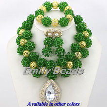 Nigerian Green Crystal Beads Jewelry Set Indian Wedding Bridal Jewelry Set Costume African Jewelry Set Free Shipping AJS759