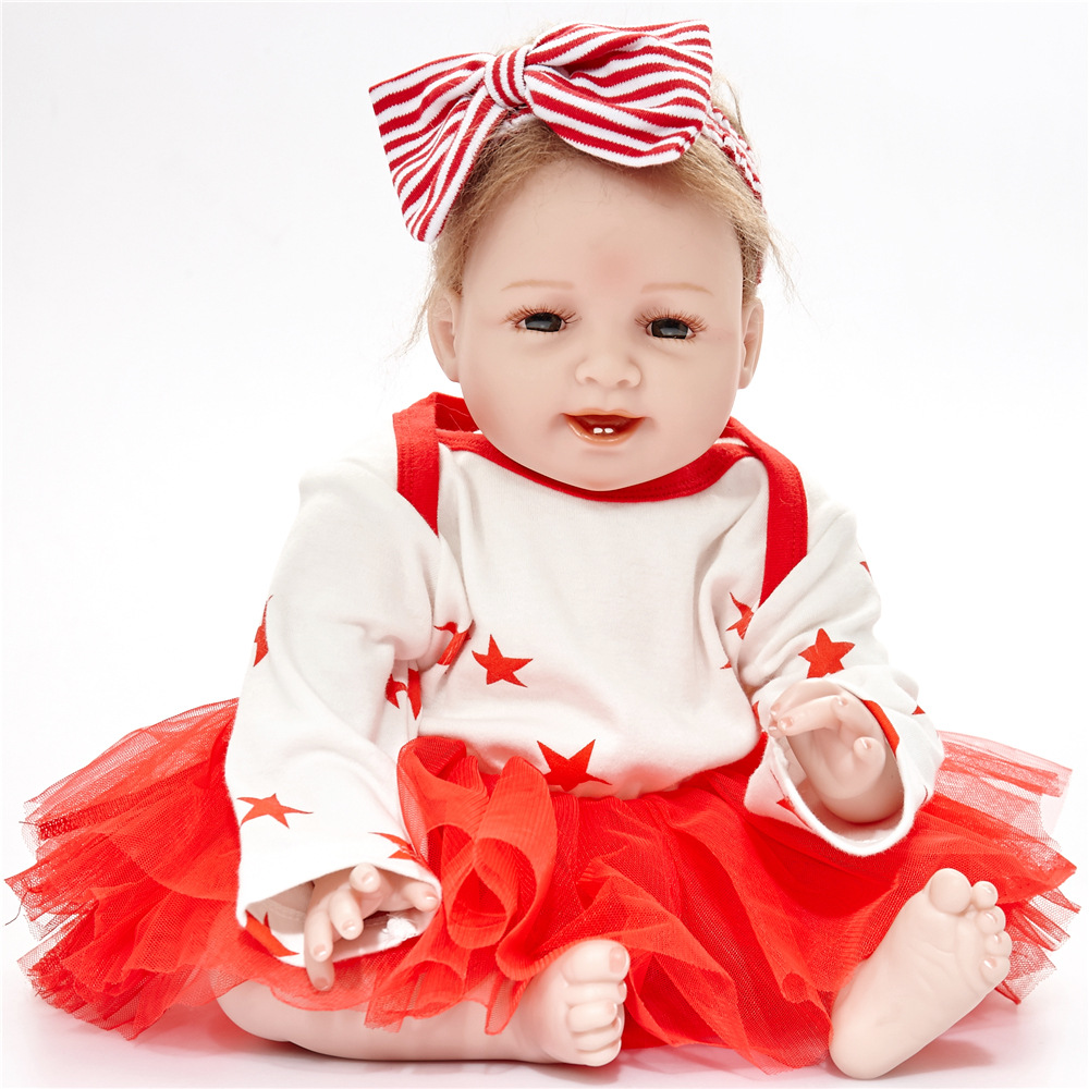 55cm Lovely Reborn Girl Doll Soft Silicone Lovely Princess Newborn Baby with Cloth Body Toy for Kids Birthday Christmas Gift