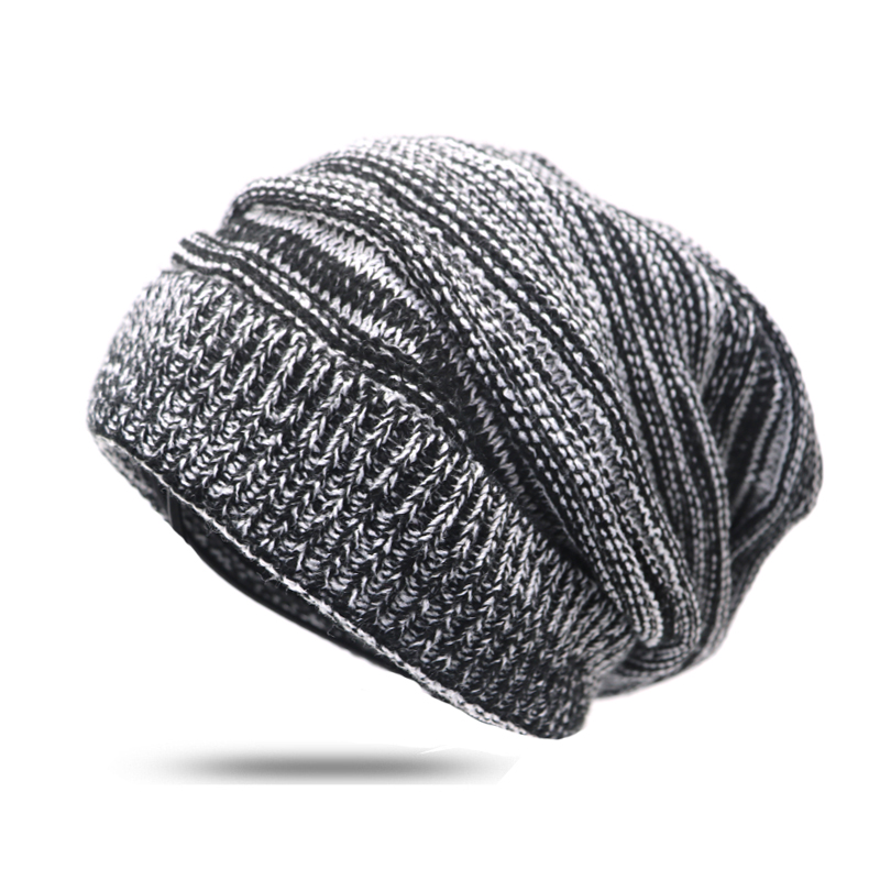 Unisex Cap Autumn Winter Women Men Hat And Cap Warm Knitted Female Oversized Slouch   Skullies     Beanies   Striped Hip Hop Cap Hat