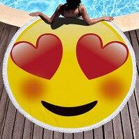 Multiform Smile Emoji Round Beach Towel Microfiber With Tassels Cute Morden Large Beach Towels Serviette De Plage