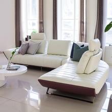本革ソファ断面リビングルームのホーム家具ソファー l 型機能背もたれとステンレススチール脚