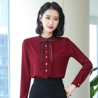New 2019 Fashion Formal Women Blouses & Shirts Wine Red Long Sleeve Ladies Work Wear Blouses Female Clothes