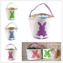 Новые стили декорированные кролики холст корзина из джута сумка пасхальное ведро для ребенка счастливым пасхальные украшения