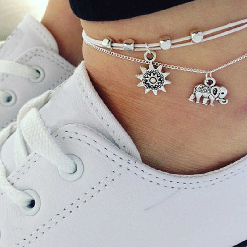 M MISM אופנה כוכב בציר פיל Anklets לנשים Boho שכבה כפולה רגל צמיד רגל צמיד cheville בנות תכשיטי מתנה