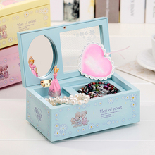 Lovely 3 Colors Rotating Wind up Music Box Jewelry box with mirror and Ballet Girl Wedding Birthday Christmas Gifts