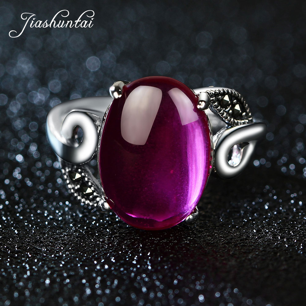 JIASHUNTAI Vintage 925 Sterling Silver Rings For Women Natural Ruby Gemstone Retro Thai Silver Jewelry цена 2017