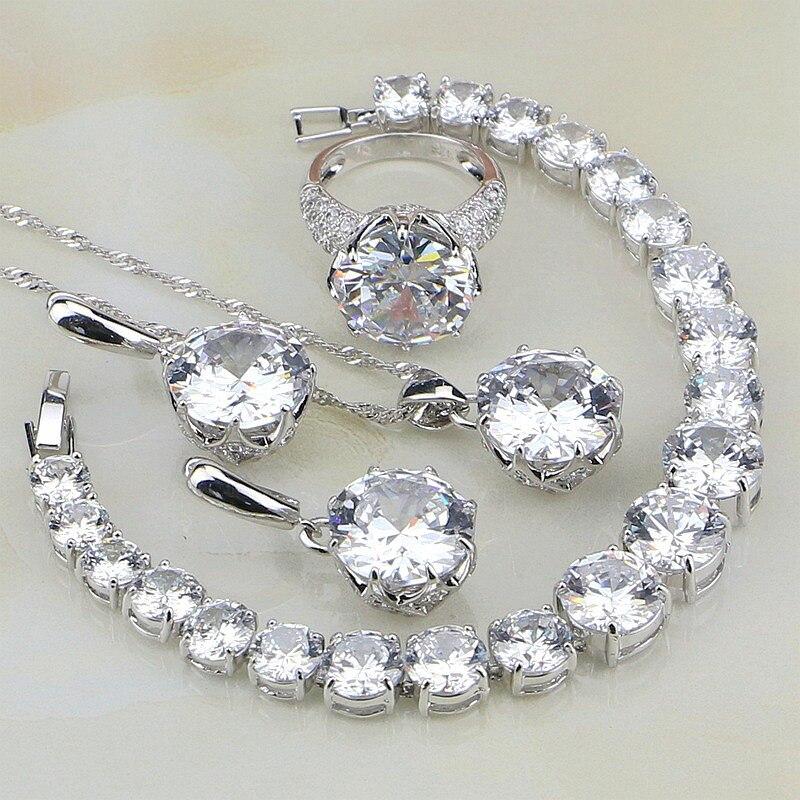 Wholesale 925 Sterling Silver Jewelry White Australian Crystal Jewelry Sets For Women Bracelet/Necklace/Pendant/Earrings/RingWholesale 925 Sterling Silver Jewelry White Australian Crystal Jewelry Sets For Women Bracelet/Necklace/Pendant/Earrings/Ring