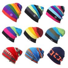 Unisex marka czapki mężczyźni kobiety ciepłe zimowe Knitting Skating Cap mężczyźni kask narciarski czapka z golfem Gorro tanie tanio 02-9075 Akrylowe Termiczne Paski Skullies Beanies