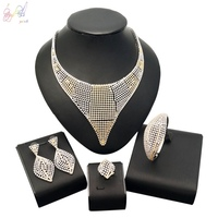 YULAILI Popular Cubic Zirconia Hollow Design Wedding Bridal Jewelry Set African Party Charming Accessories