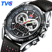 TVG Top Luxury Brand Watch Men Fashion Sports Watches Men's Quartz LED Clock Man Leather Military Wrist Watch Relogio Masculino