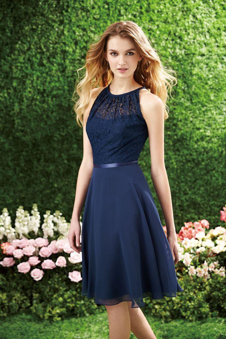 2016 Sexy Halter Short Navy Blue Lace   Bridesmaid     Dress   Cutout Back Chiffon Knee Length Cheap Beach   Bridesmaids     Dresses   under 50