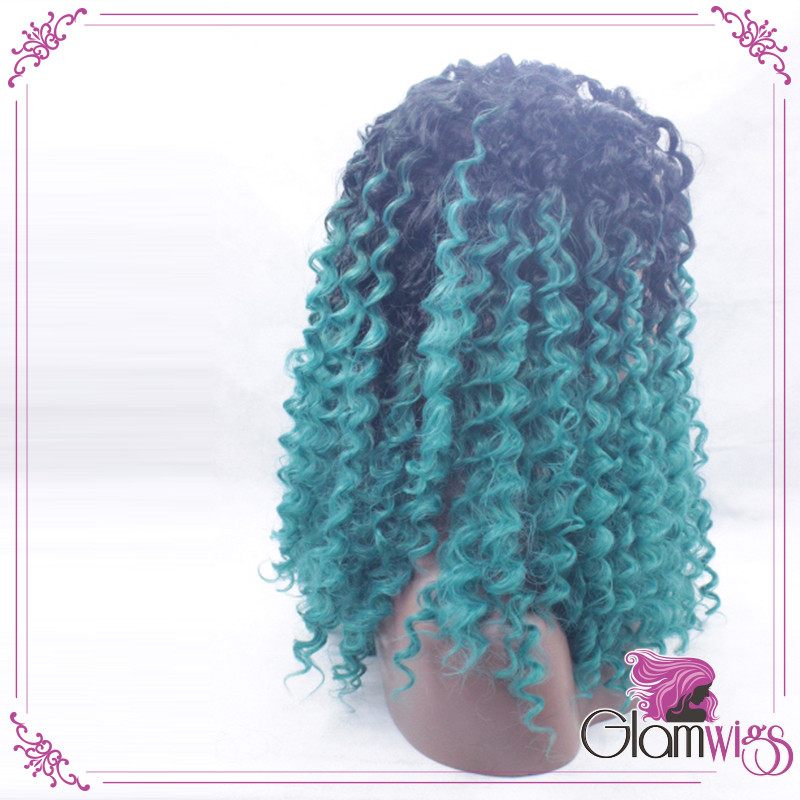 Most Popular In 2016 Ombre Blue Kinky Curly Hair Lace Wig Ombre Black To Blue Color Deep Curly Synthetic Hair Lace Front Wigs4