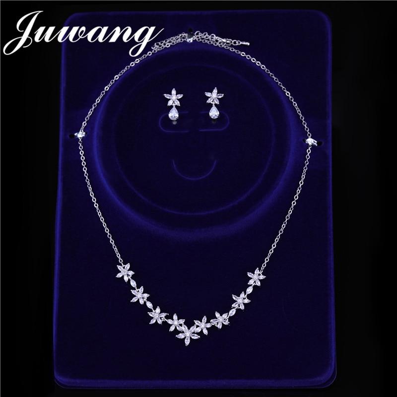 JUWANG-bijou de marque pour femmes, bijou exclusif à fleurs de couleur argent, zircone cubique, ensemble de bijoux pour fêtes, cadeau pour femmes