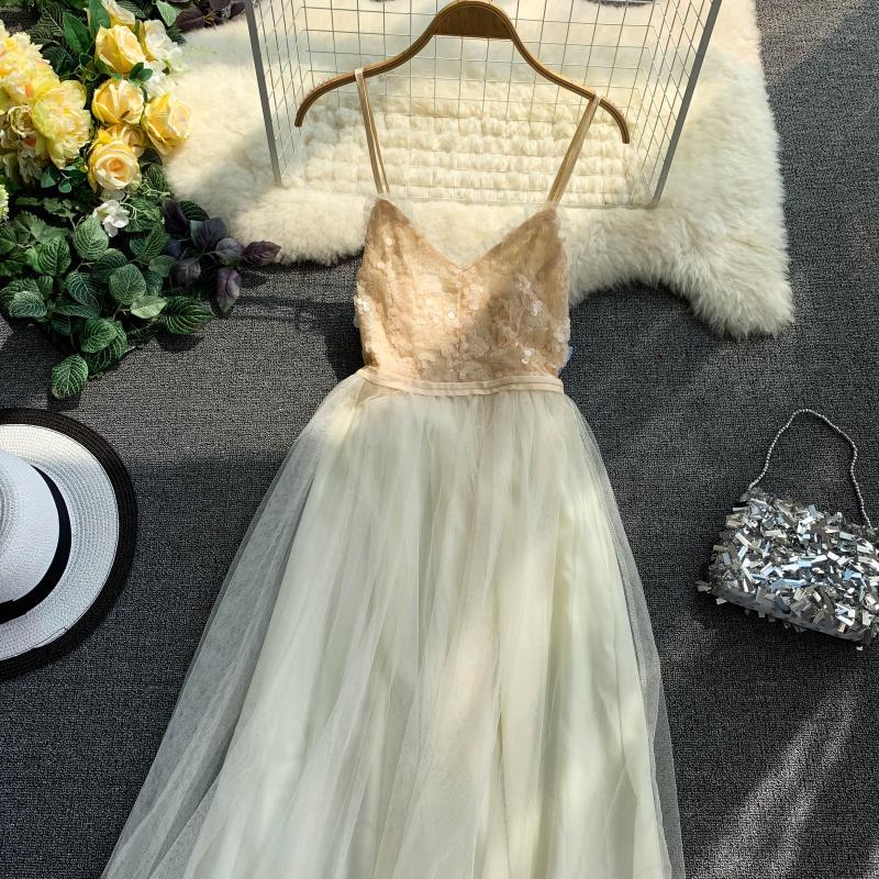 V-Neck Sequins Backless Sleeveless A-line Dress 5