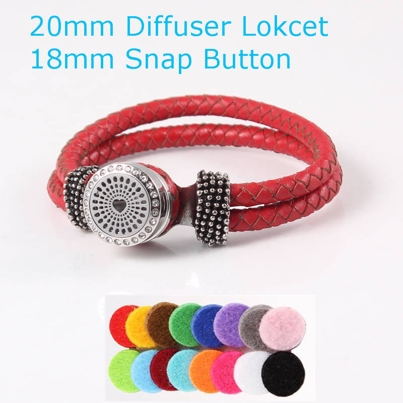 20mm stainless steel love heart essential oil diffusing perfume locket 18mm snap button leather bracelet (free felt pads)