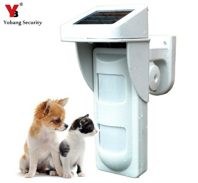 YobangSecurity 433 mhz sans fil solaire extérieur étanche pour animaux de compagnie capteur de mouvement PIR amical pour système d'alarme de sécurité à domicile
