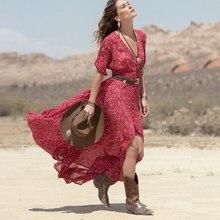 4a1c707e03 2016 kobiety nowa moda lato sukienka Boho szyfonu kwiatowy Party plaża  długa sukienka w dużym rozmiarze sklep