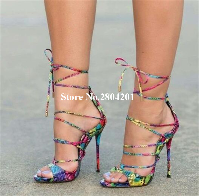 2018 Women Sandals Lace Up High Heels Ankle Strap Shoes Women Peep Toe  Rainbow Croc Summer Sandals Stiletto Gladiator Shoes ad9349ec6ee4
