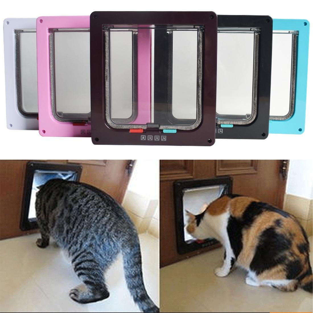 4 Way Lockable Dog Cat Kitten Door Security Flap Door Abs Plastic Animal Small Pet Cat Dog Gate Door Pet Supplies