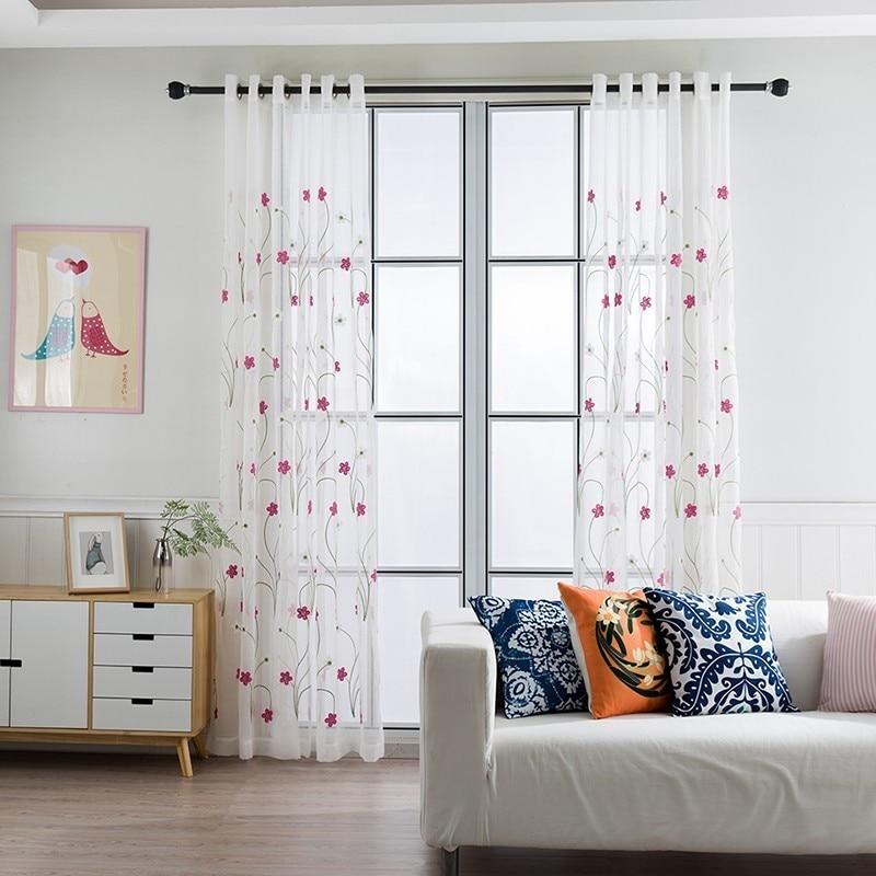 Weiß Tüll Sheer Stickerei Vorhänge Für Wohnzimmer Schlafzimmer Moderne  Jalousien Für Fenster Vorhänge Schaum Organza Voile