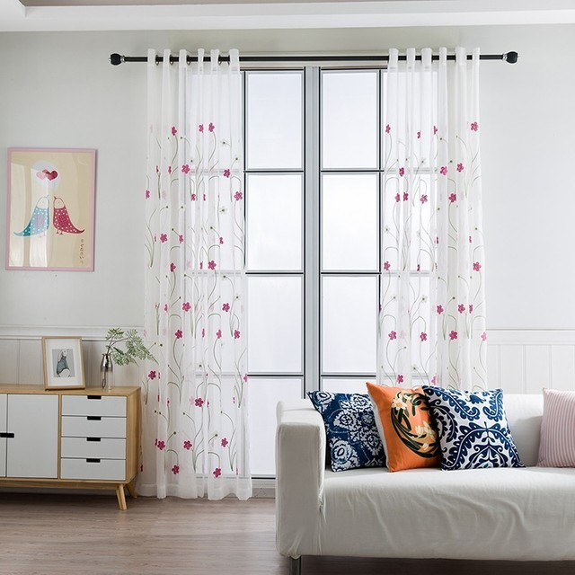 White Tulle Sheer Embroidery Curtains For Living Room Bedroom Modern Blinds  For Window Curtains Foam Organza Voile Gordijnen-in Curtains from Home & ...