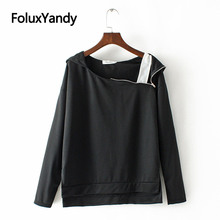 One Shoulder Hoodies Women Zipper Casual Pullovers Long Sleeve Asymmetrical Plus Size Sweatshirt Black White KKFY3028 plus open shoulder sweatshirt