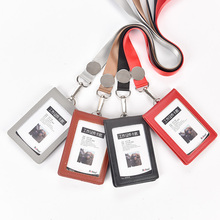 NAHOO Genuine Leather Id Holders Case Business Badge Card Holder With Necklace Lanyard LOGO Customize Print Company Supplies