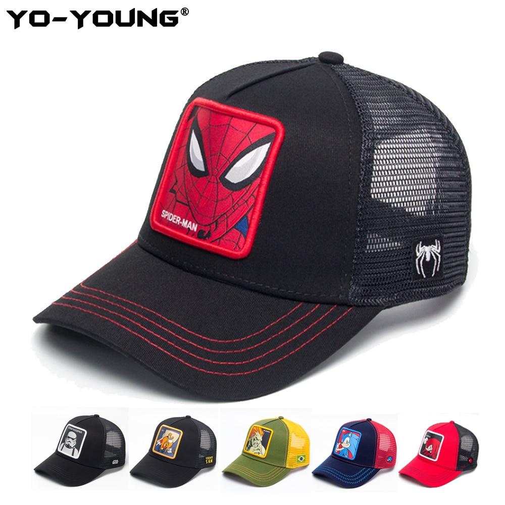 Yo-Young Quality Anime Baseball Caps Spiderman Unisex Mesh Caps Baseball Caps Kids Snapback Caps For Adult Adjustable 53-59 cm
