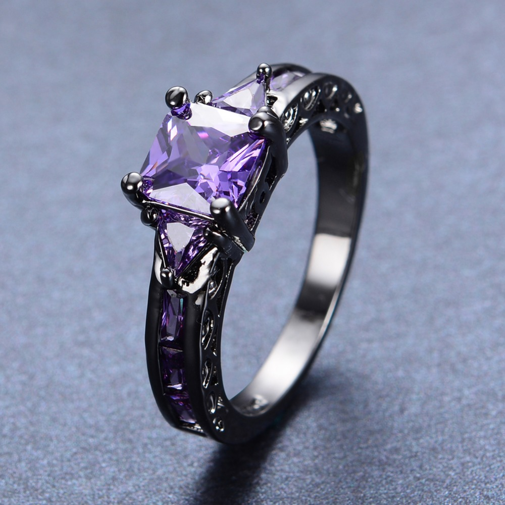 ring rose purple blanche lily amethyst luminous gemstone vermeil cocktail rings gold